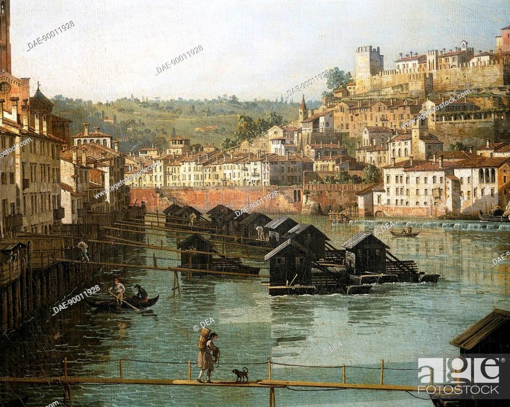 Stock Photo: View of Verona with the Adige River looking towards Castel San Pietro (St Peter's Castle) from the New Bridge, 1747-1748, by Bernardo Bellotto.
