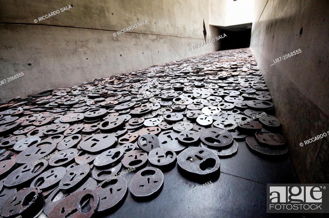 Stock Photo: Germany, Berlin, Jewish Museum, by Daniel Libeskind, Memory Void Room, Installation, Shalechet Fallen Leaves by Menashe Kadishman.