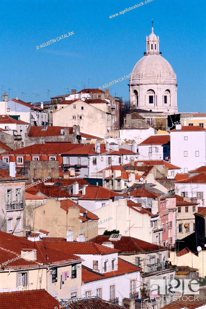 Stock Photo: View on Alfama quarter with National Pantheon of Santa Engracia in background from Santa Luzia viewpoint. Lisbon. Portugal.