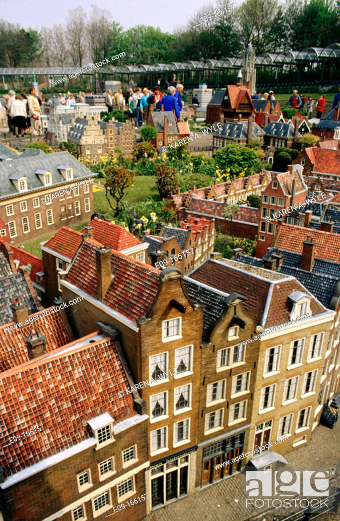 Stock Photo: Madurodam, miniature city, with many visitors, The Hague, the Netherlands.