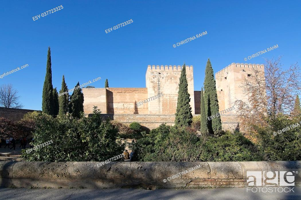Stock Photo: Alhambra islamic moorish palace architecture details in Granada, Andalucia, Spain.