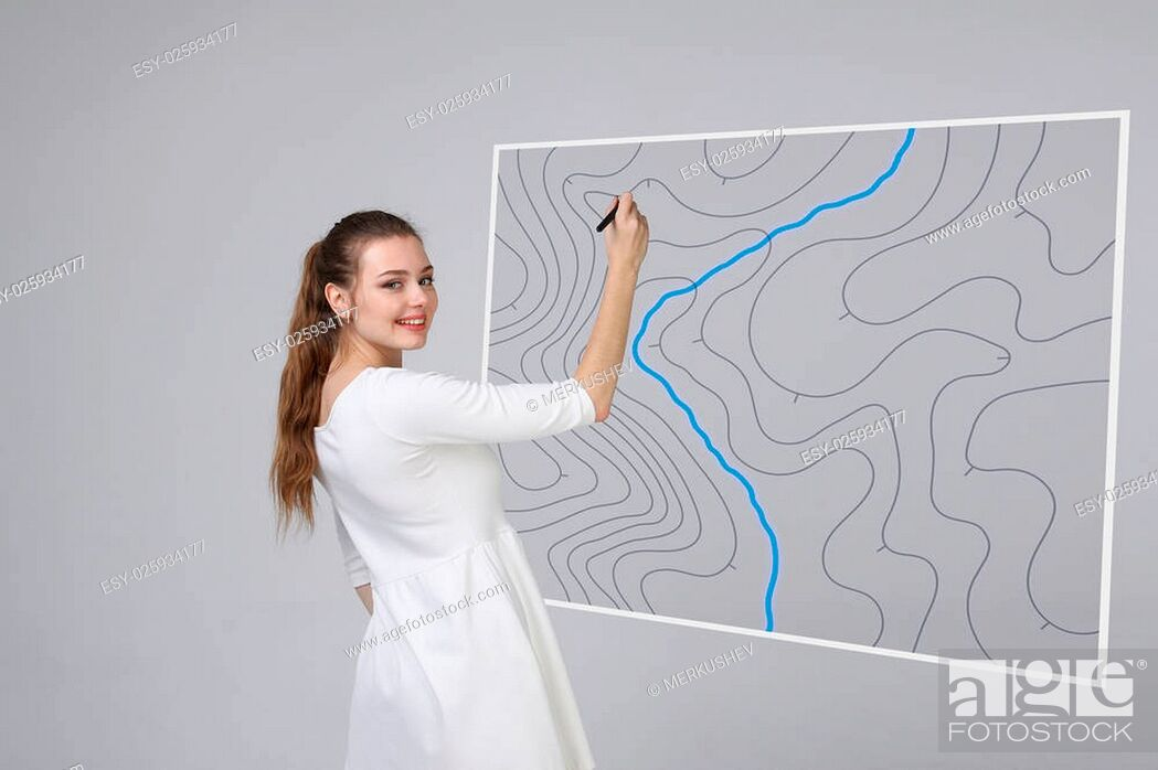 Stock Photo: Geographic information systems concept, woman scientist working with futuristic interface in GIS software on a transparent screen.
