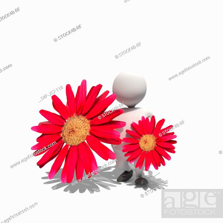 Stock Photo: Anthropomorphic figure holding two blossoms, CGI.