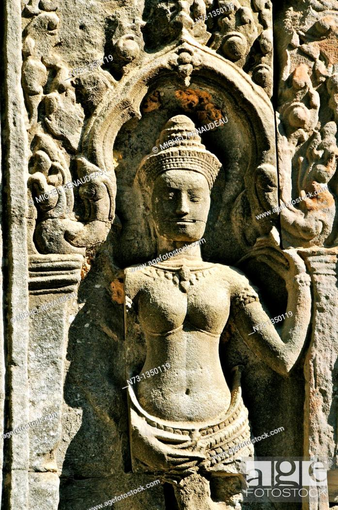 Stock Photo: Cambodia, Siem Reap Province, Angkor classified World Heritage by UNESCO, the temple of Ta Prohm, built in 1186 by King Jayavarman VII,.