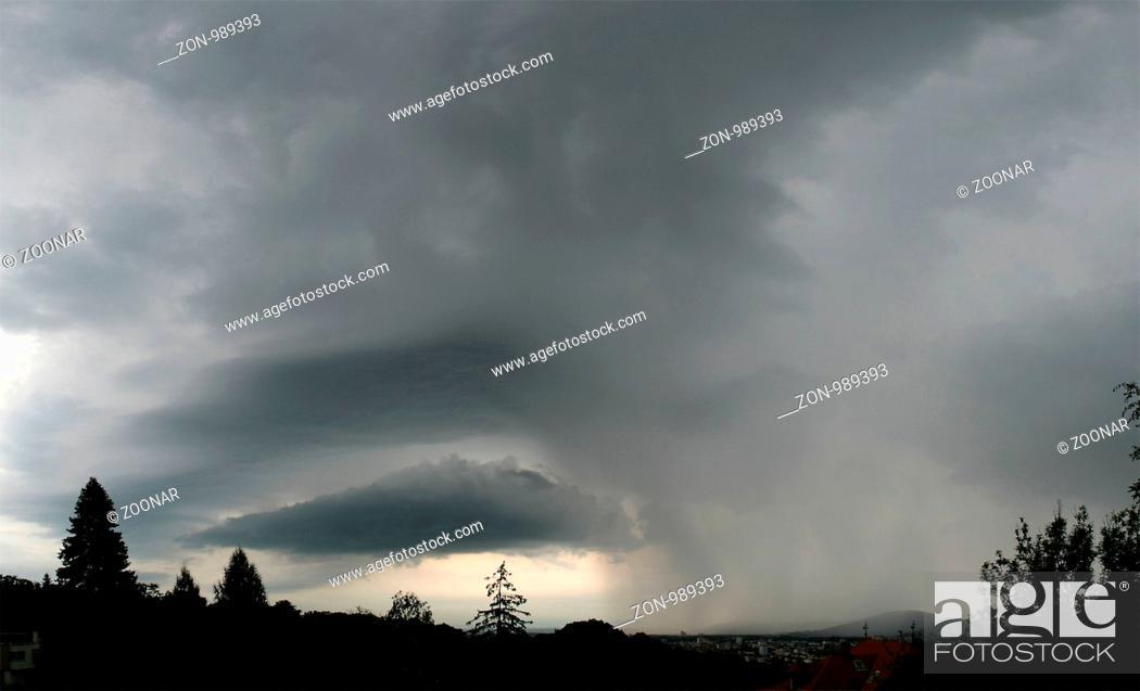 Stock Photo: Thunderstorm over Graz, Austria.
