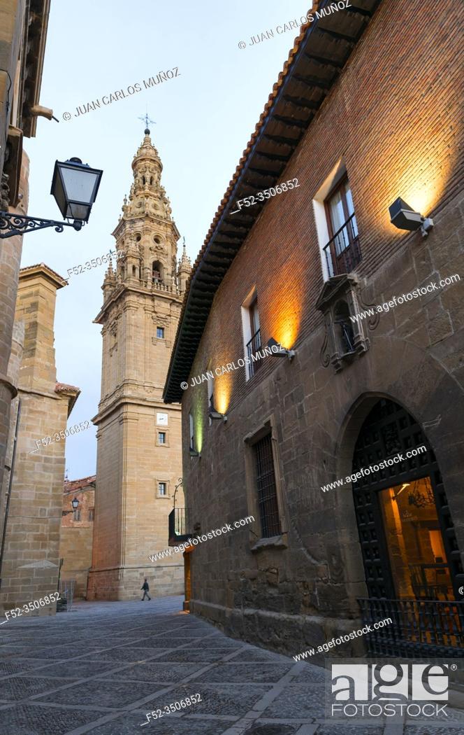 Stock Photo: Bell Tower, Old Hospital, Parador de Turismo, Square of the Saint, SAnto Domingo Cathedral, Santo Domingo de la Calzada, La Rioja, Spain, Europe, The Way of St.