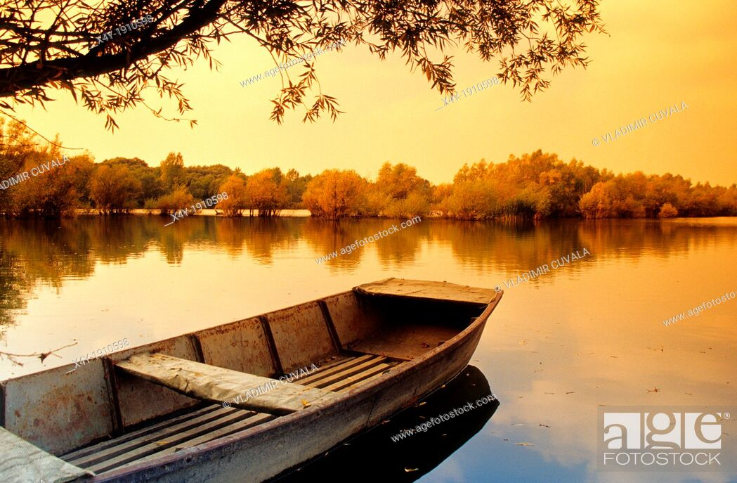 Stock Photo: The fishing boat on the lake by the river Maly Dunaj near Kolarovo, Slovakia.