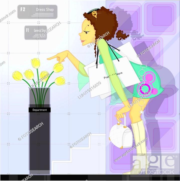Stock Photo: flower, shopping bag, fashion, young woman, bag, shoppers.