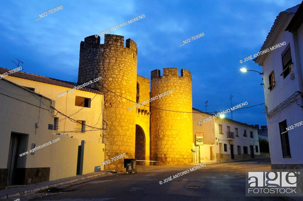 Stock Photo: Chinchilla town gate at dusk. Belmonte. Cuenca province, Castilla la Mancha. Spain.
