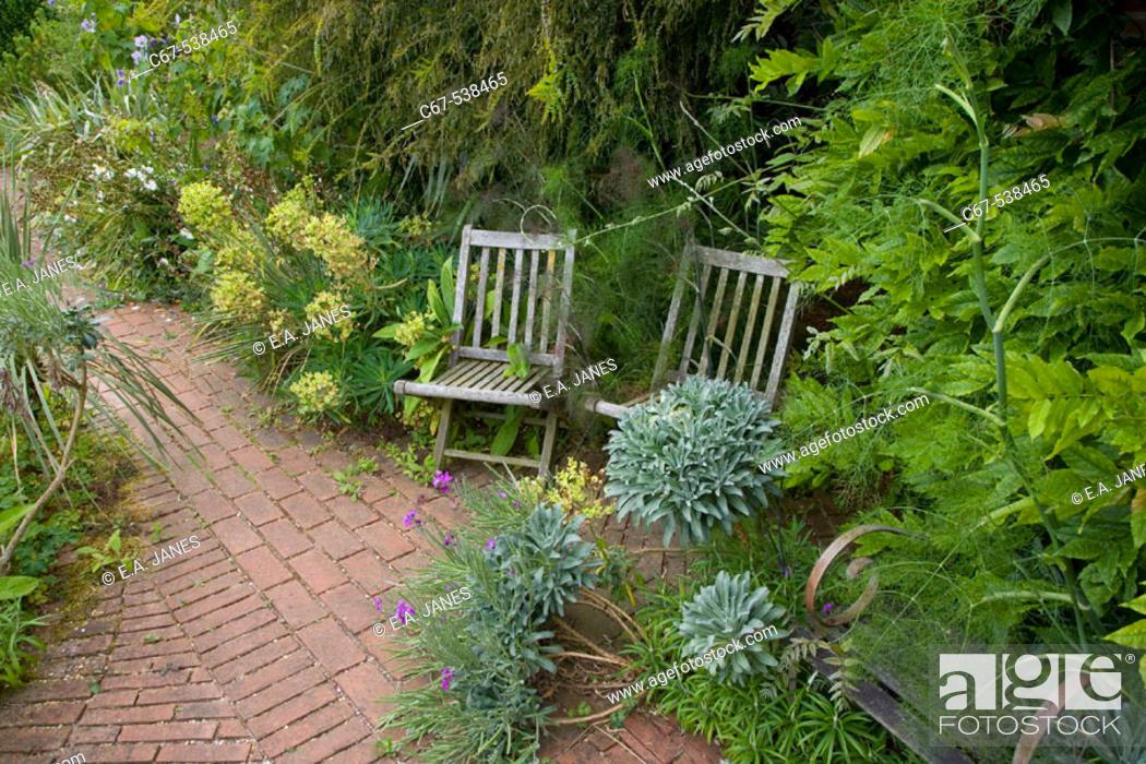 Stock Photo: Garden Border Sitting Area.