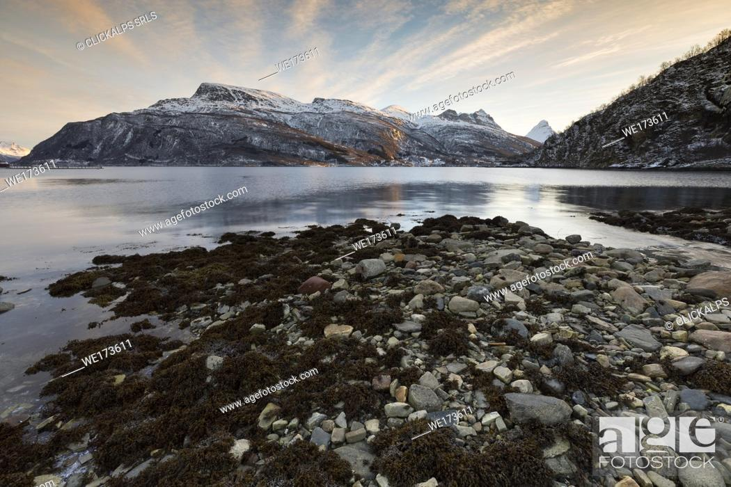 Stock Photo: sunrise at Grovfjord, municipality of Skanland, Lofoten Island, Norway, Europe.