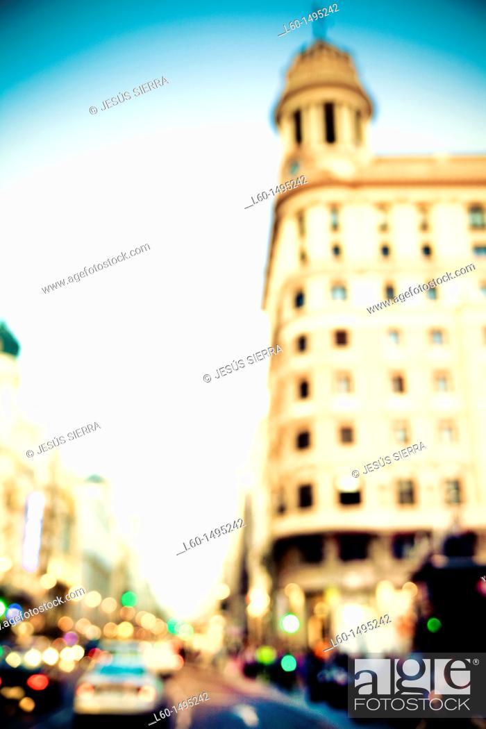 Stock Photo: Plaza del Callao Madrid Spain.
