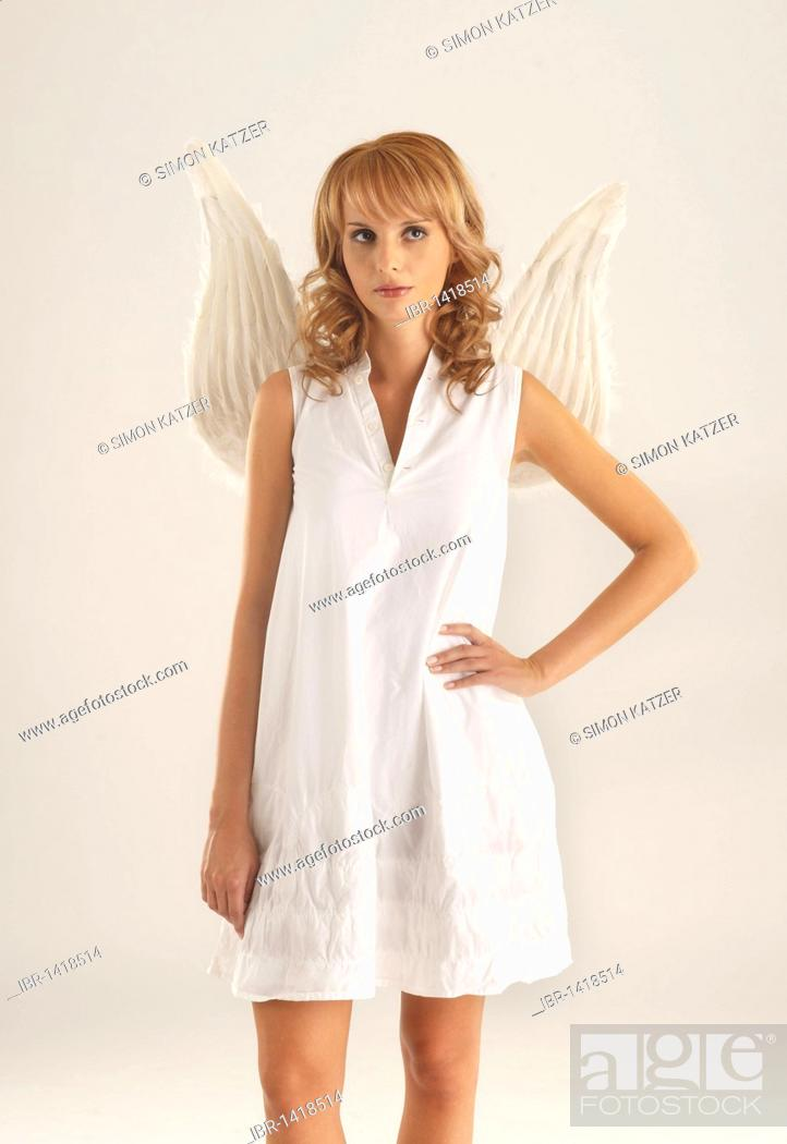 Stock Photo: Woman with angel wings.