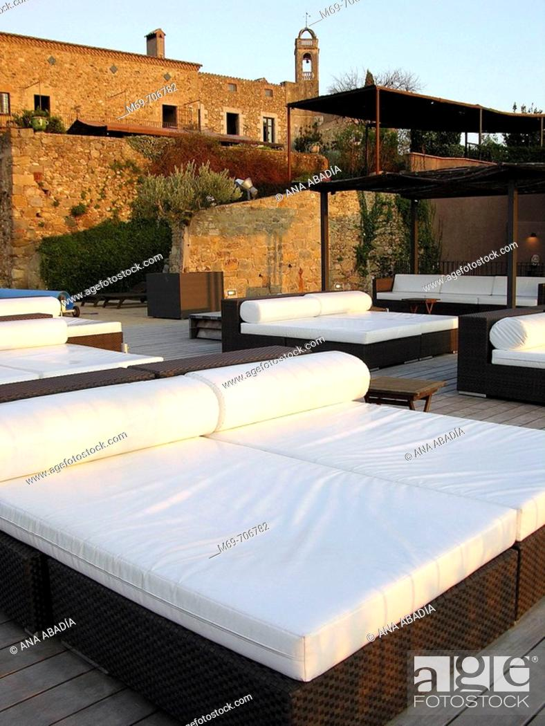 Stock Photo: Chill out area, Hotel Castell d'Empordà. Catalonia, Spain.