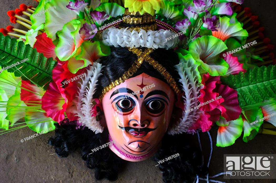 Stock Photo: Purulia Chhau dance mask ( West Bengal, India). The Chhau dance is originating from eastern India. It is divided in three genres.