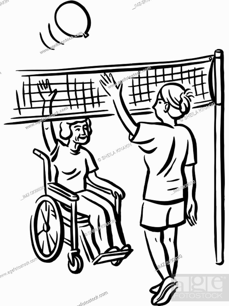 Stock Photo: Volleyball exercise for elderly people.