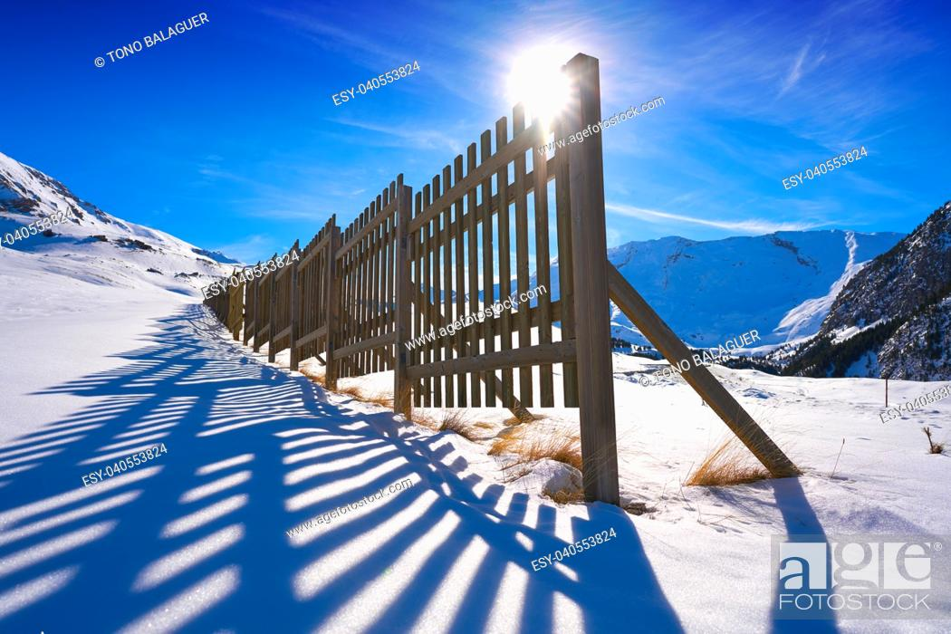 Stock Photo: Cerler wooden snow fence in Pyrenees of Huesca in Spain.