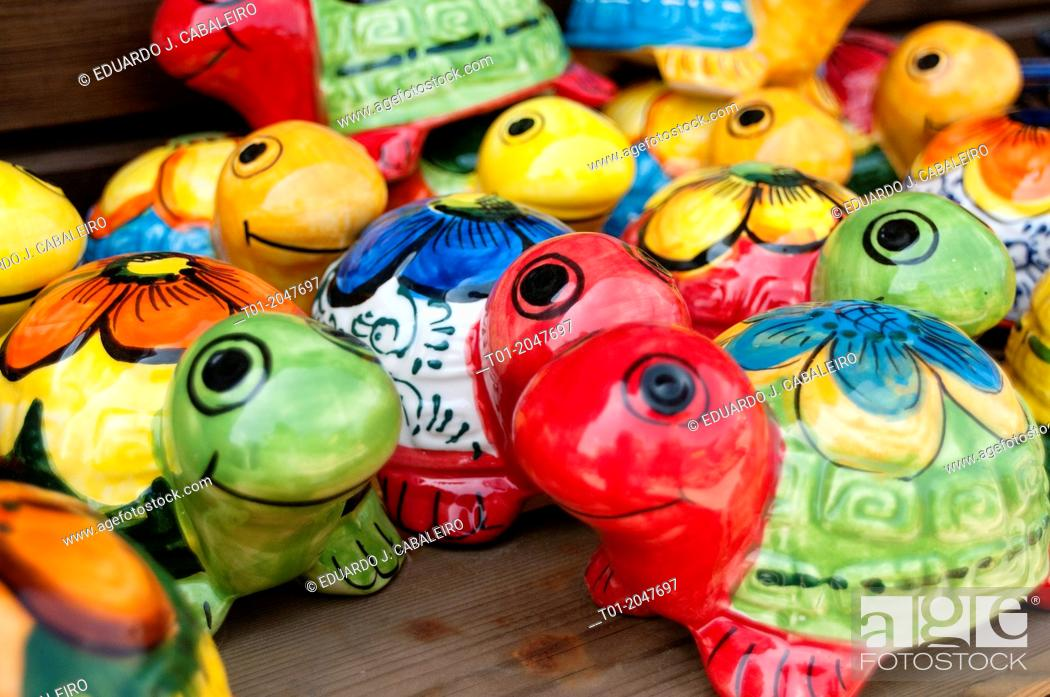 Stock Photo: Painted mud turtles in crafts store in Benacazon. Seville. Andalusia. Spain.