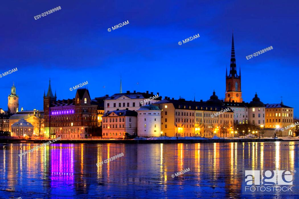 Stock Photo: View of Stockholm city in winter.