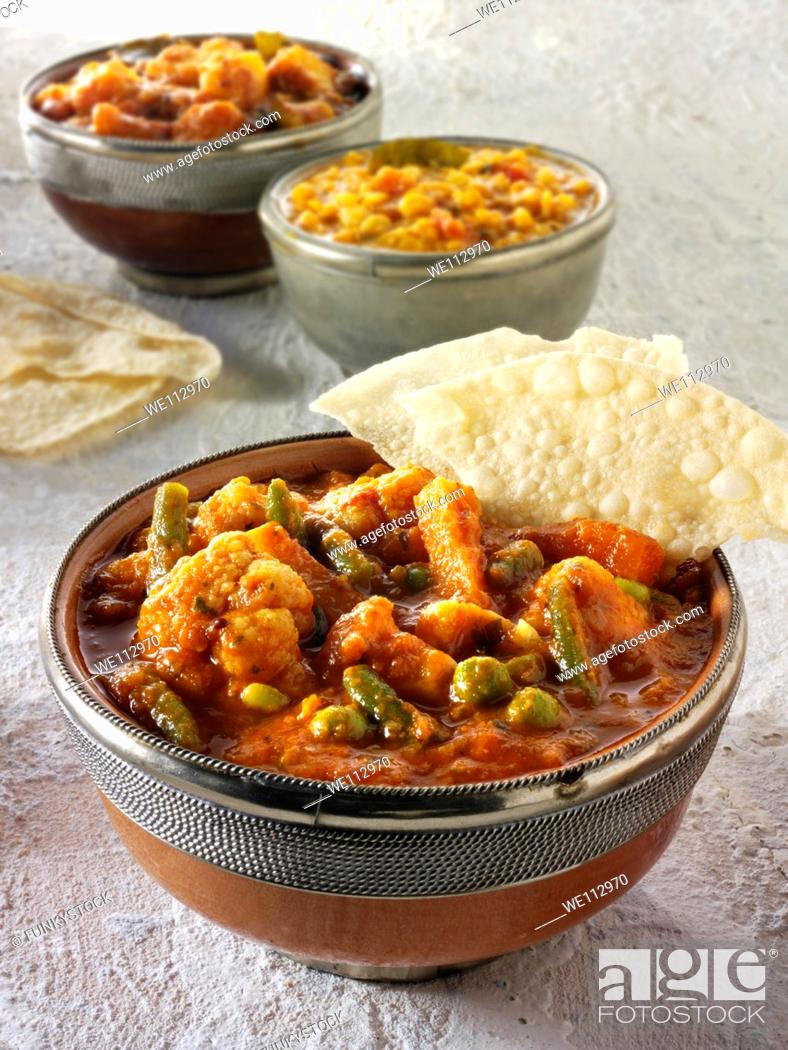 Stock Photo: Vegetable curry, Indian food recipe.