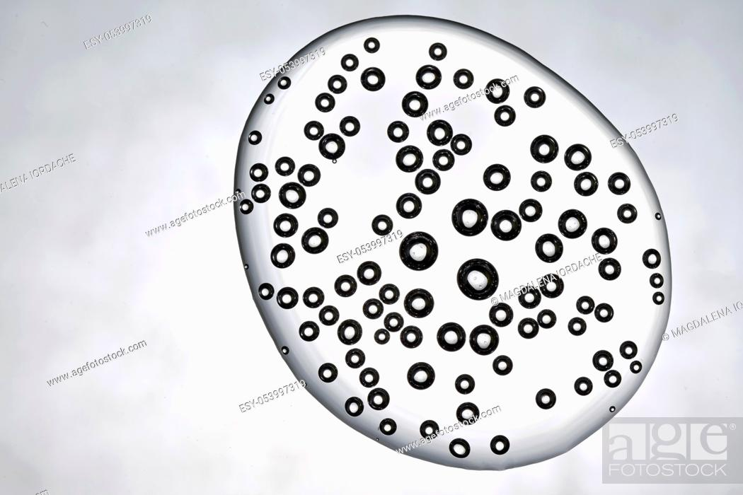 Stock Photo: Water Drop of Bubbles Air Inside Isolated On White.