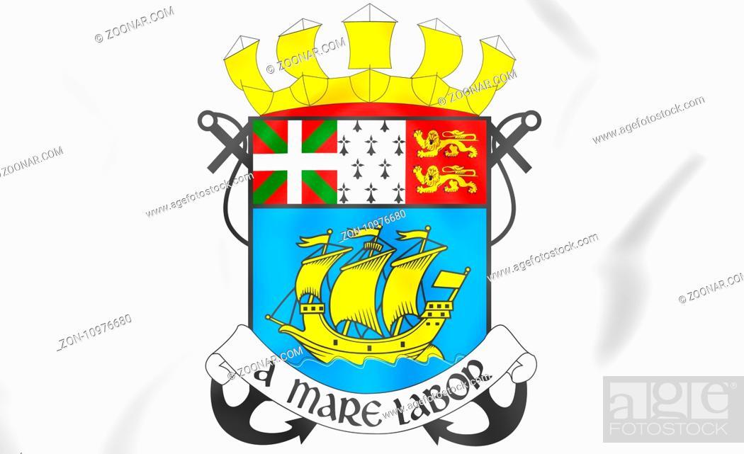 Stock Photo: Saint Pierre and Miquelon coat of arms, France. 3D Illustration.