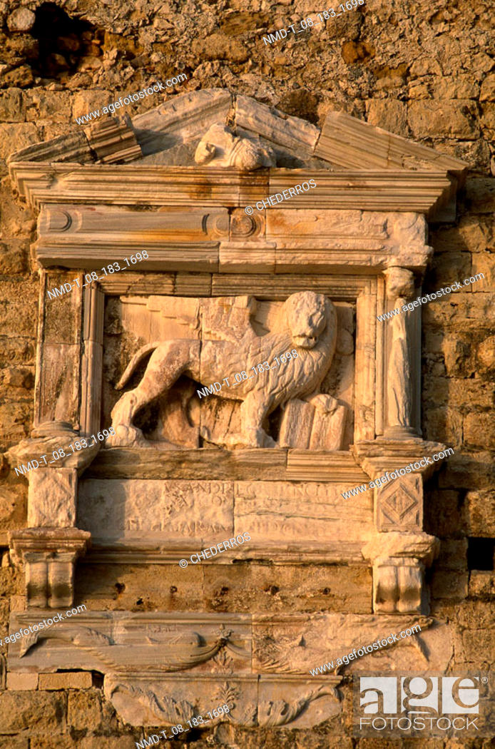 Stock Photo: Low angle view of carving on a wall, Crete, Greece.