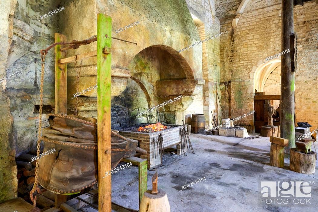 Imagen: Furnace, Forge, Abbaye Royale de Notre Dame de Fontenay, Fontenay Cistercian Abbey, Montbard, Côte d'Or, Burgundy Region, Bourgogne, France, Europe.