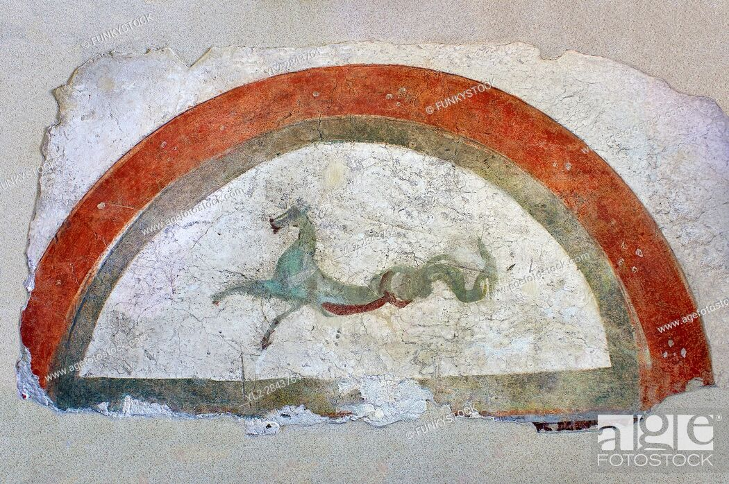 Stock Photo: Roman fresco wall decorations from Villas of Rome depicting Pegasus. Museo Nazionale Romano ( National Roman Museum), Rome, Italy.
