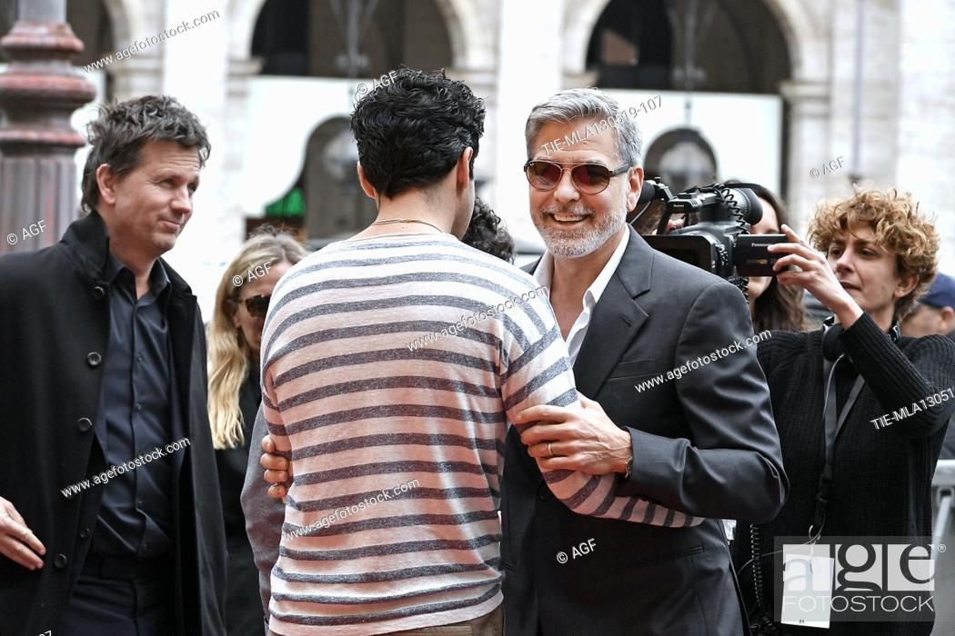 Stock Photo: George Clooney, Christopher Abbott during 'Catch-22' TV show photocall, Rome, Italy - 13 May 2019.