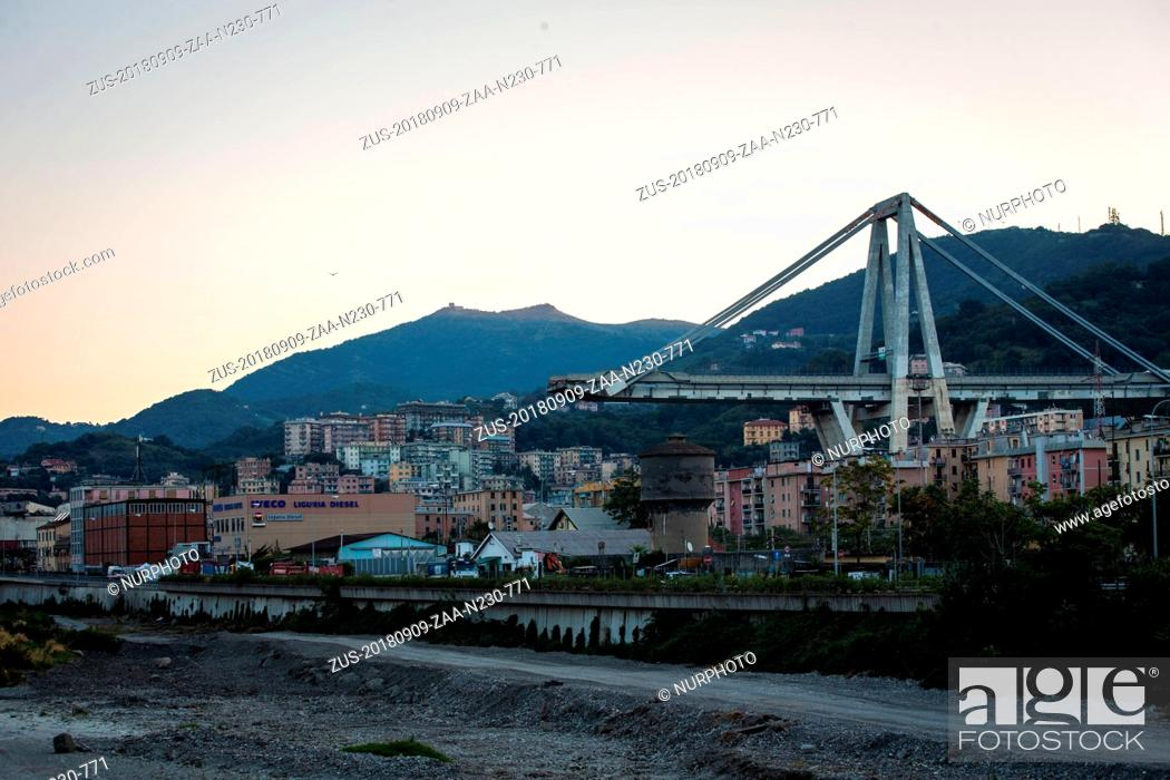 Stock Photo: September 9, 2018 - Genoa, Italy - A picture shows the collapsed Morandi motorway bridge in Genoa on September 9, 2018. The giant motorway bridge collapsed on.