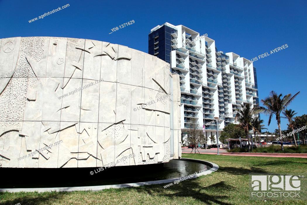 Stock Photo: Collins Park Miami Beach, Florida, USA.