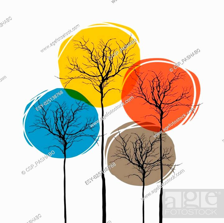 Stock Vector: Abstract Trees On White. Seasons Concept.
