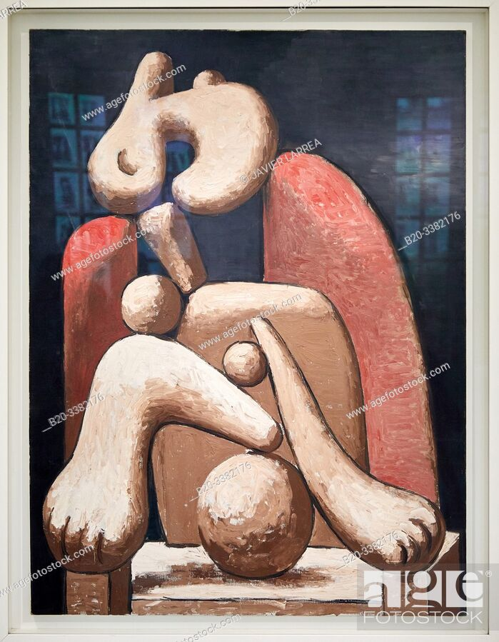 "Stock Photo: ""Woman with a Red Armchair"", 1932, Pablo Picasso, Picasso Museum, Paris, France, Europe."