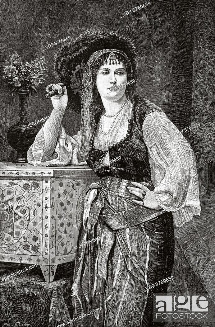 Imagen: The most beautiful young woman in the harem. Constantinople, Ottoman Empire. Old 19th century engraved illustration from El Mundo Ilustrado 1879.