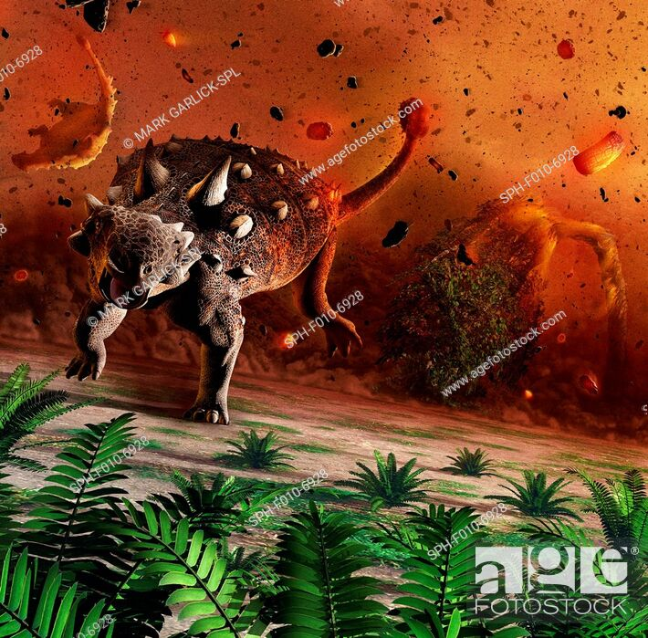 Stock Photo: Artwork showing dinosaurs caught in the aftermath of an asteroid impact. The dinosaurs were wiped out 65 million years ago.