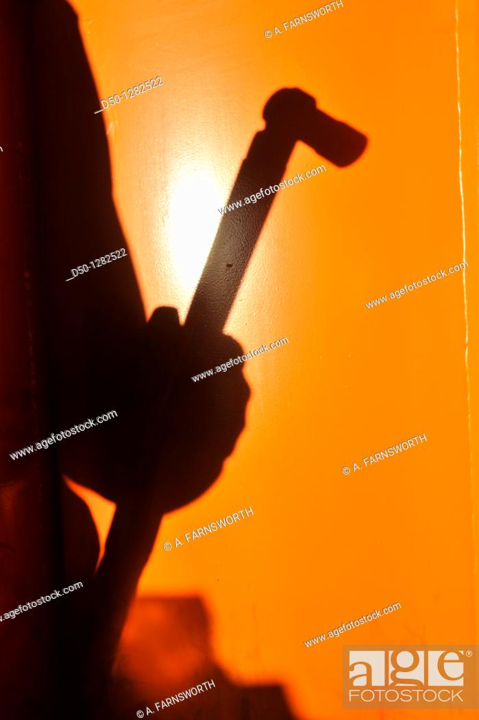 Stock Photo: Shadow of a wrench in a factory, Finspong, Sweden.