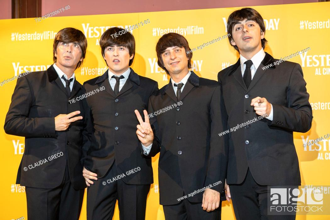 Imagen: The Beatbox, tribute band to The Beatles during the photocall of film ' Yesterday ' in Milan, ITALY-20-06-2019.