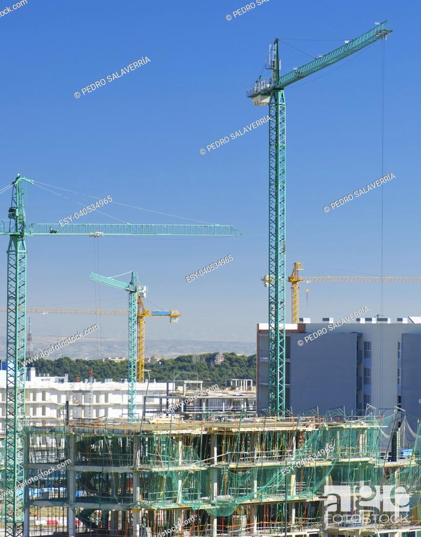Stock Photo: Construction work site with blue sky in Zaragoza, Aragón, Spain.
