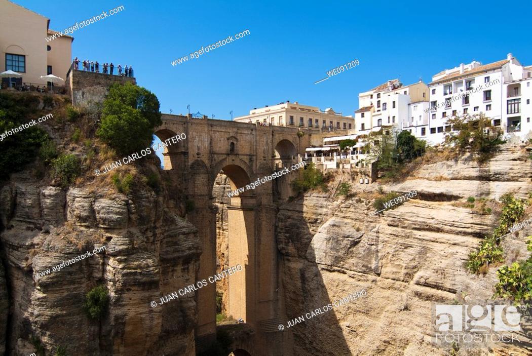 Stock Photo: New Bridge of Ronda. Malaga. Andalucia. Spain.