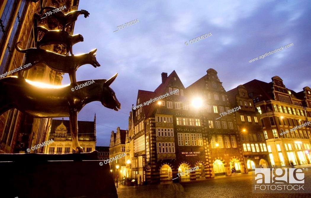 Stock Photo: Statue of the Town Musicians of Bremen in Marktplatz, Bremen. Germany.