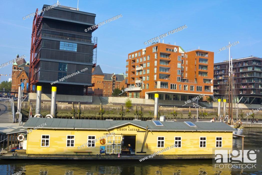 Stock Photo: Lieger Caesar, pontoon boat with cafe and restaurant, Sandtorhafen, HafenCity, Hamburg, Germany.