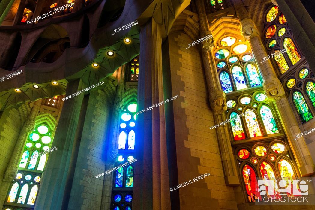 Stock Photo: Interior of Basilica Sagrada Familia by the architect Antoni Gaudi, Barcelona, Catalonia, Spain.