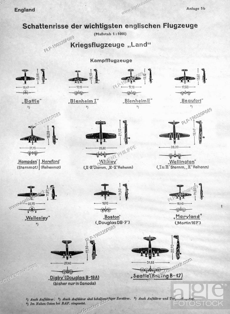 Wwii German Identification Chart Showing Silhouettes Of English War Planes Raf Aircrafts Fighter Stock Photo Picture And Rights Managed Image Pic Plp 190320p089 Agefotostock