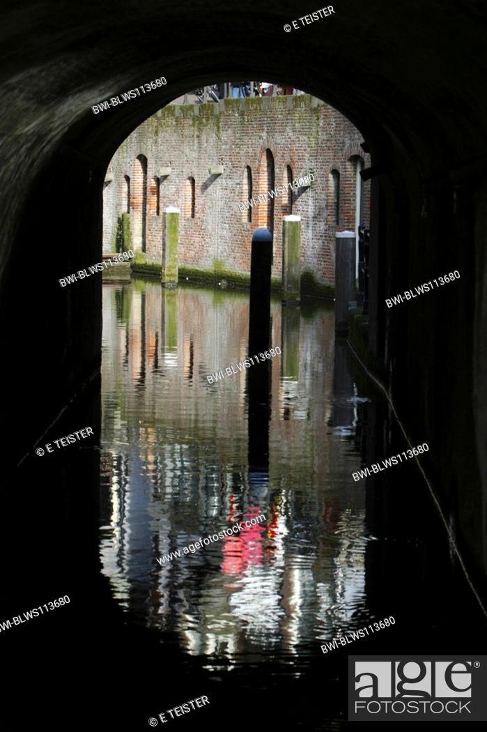 Stock Photo: bridge over a canal, Netherlands, Utrecht.