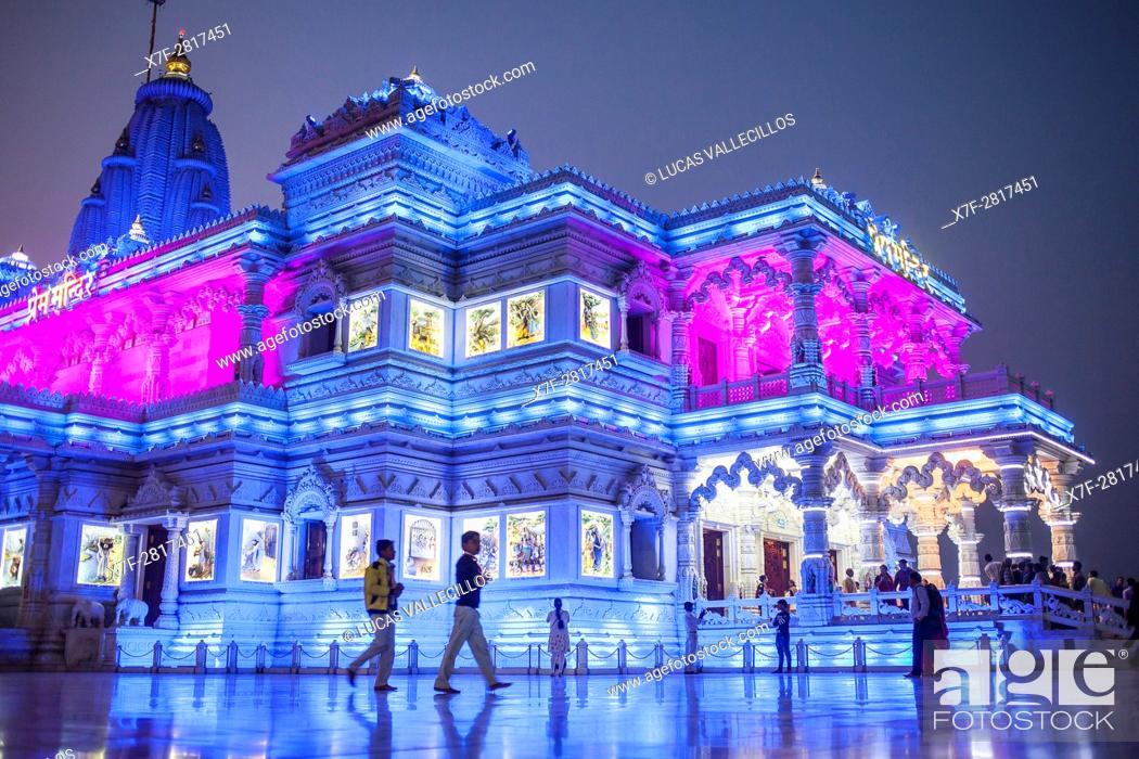 Stock Photo: Prem Mandir ( love temple) Temple of Divine Love, Vrindavan, Mathura, Uttar Pradesh, India.