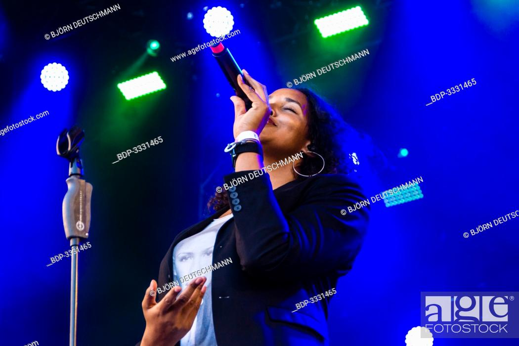 Stock Photo: Kiel, Germany - June 22nd 2019: Cassandra Steen & Band are performing on the Rathaus Stage during Kiel Week 2019.