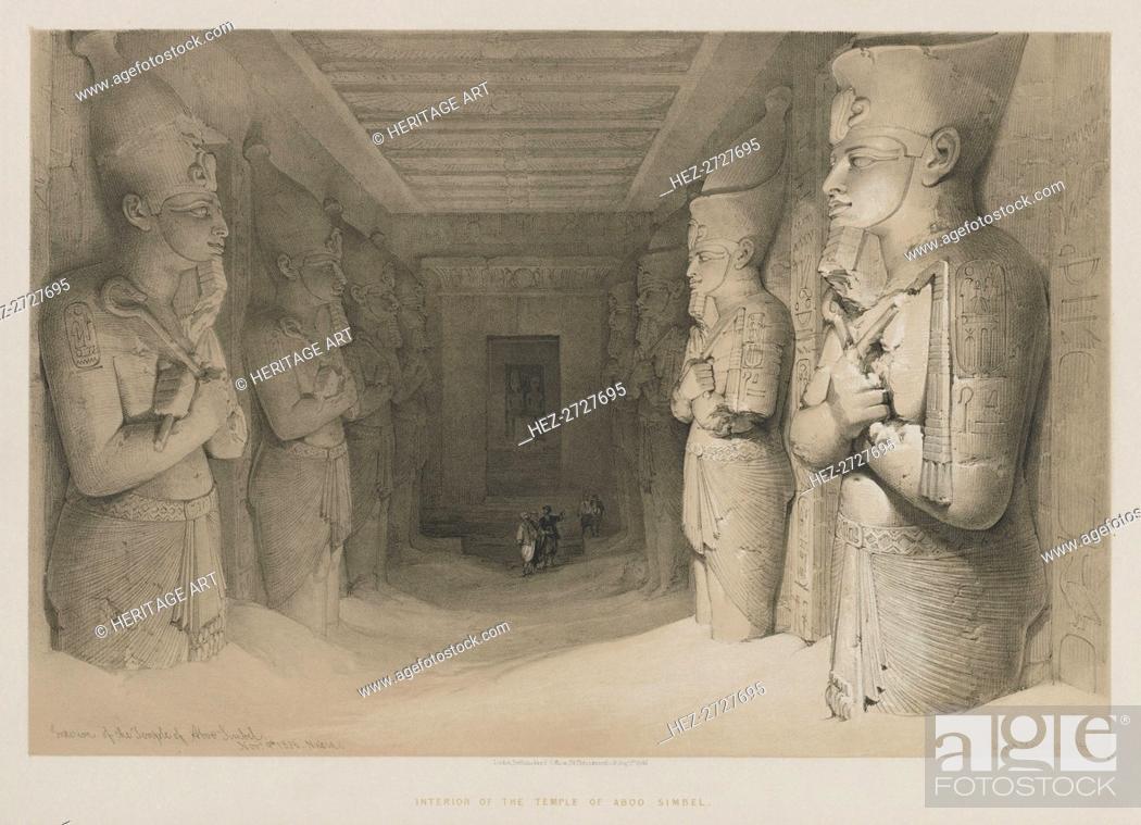 Stock Photo: Egypt and Nubia, Volume I: Interior of the Temple of Aboo-Simbel, 1846. Creator: Louis Haghe (British, 1806-1885); F.G. Moon, 20 Threadneedle Street, London.