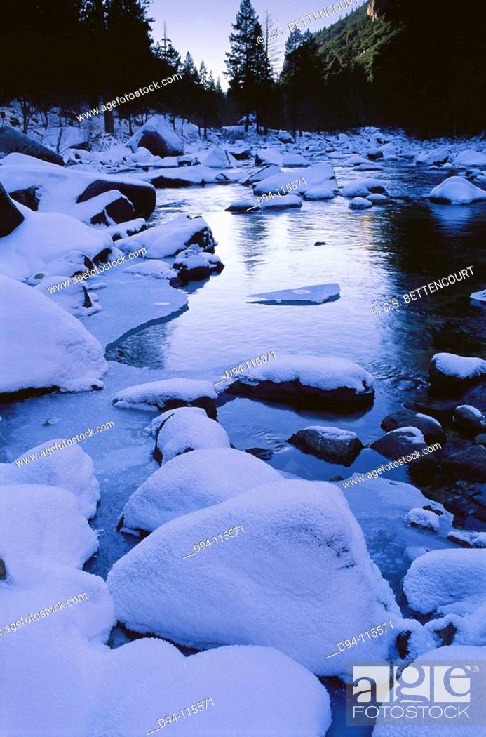 Stock Photo: Ice on Merced River, Yosemite National Park. California, USA.