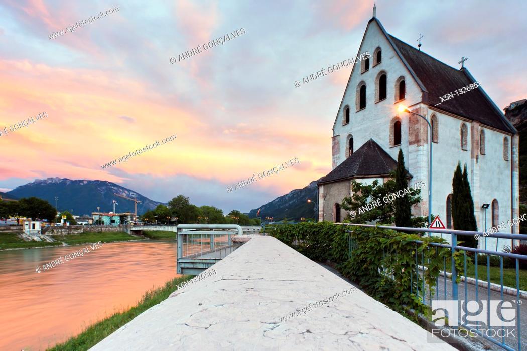 Stock Photo: Adige River, Trento, Italy.